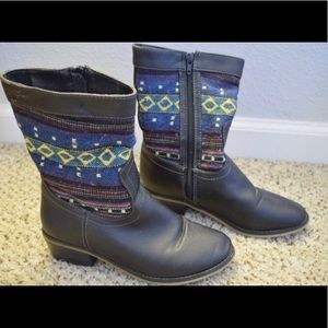 Multi colored vegan leather boots